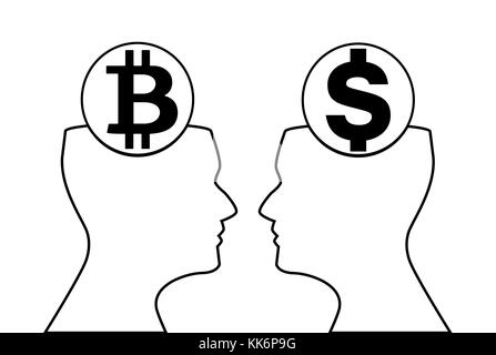 Dollar and bitcoin signs inside of outline silhouette of human heads watching on each other. Black silhouette on - Stock Photo