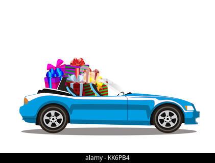Light Blue Modern Cartoon Cabriolet Car Full Of Gift Boxes Isolated On White  Background. Sport