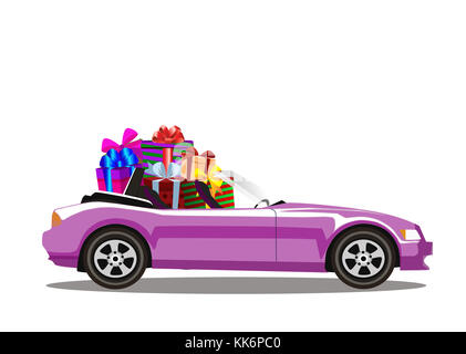Pink modern cartoon cabriolet car full of gift boxes isolated on white background. Sports car. Vector illustration. - Stock Photo