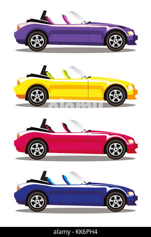 Set of modern cartoon colored cabriolet cars isolated on white background. Sports cars. Blue, yellow, red and violet - Stock Photo