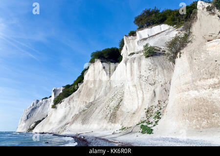 Møns Klint, the steep chalk cliffs up to 120 m above sea on the eastern Baltic Sea coast of the island Møn southeast - Stock Photo