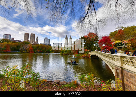 Bow Bridge in the autumn in Central Park, New York City. - Stock Photo