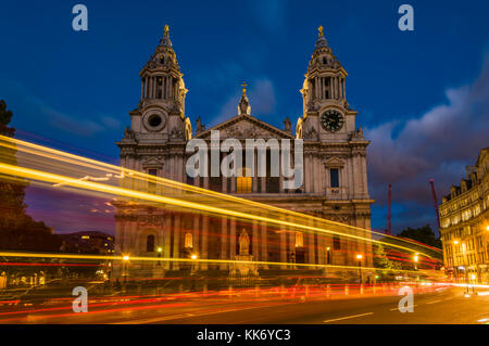 Car lights around dusk at St Paul's Cathedral, London, UK - Stock Photo