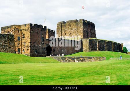 Carlisle Castle Norman keep tower and main entrance gate, Cumbria,  northwest England near Scottish border - Stock Photo