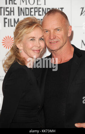 Sting and Trudie Styler attend the Moet British Independent Film Awards 2013 at Old Billingsgate Market in London. 8th December 2013 © Paul Treadway