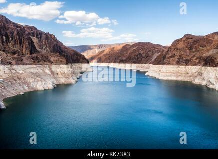Lake Mead from the Hoover Dam, summer day - Arizona, AZ, USA - Stock Photo