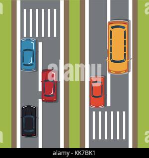 Highways top view cartoon - Stock Photo