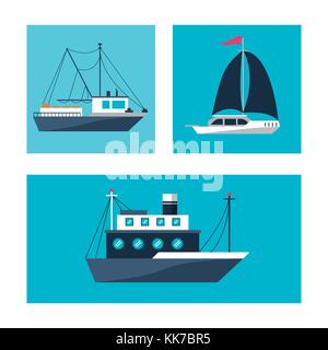 Ships icons set - Stock Photo