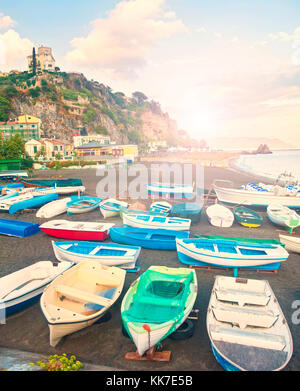 cross-processed image of old Italian fishing village beach at sunset, Vietri sul Mare, Amalfi coast, Italy - Stock Photo