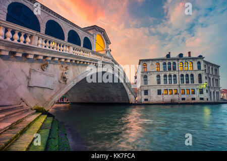 Venice. Cityscape image of Venice with famous Rialto Bridge and Grand Canal. - Stock Photo