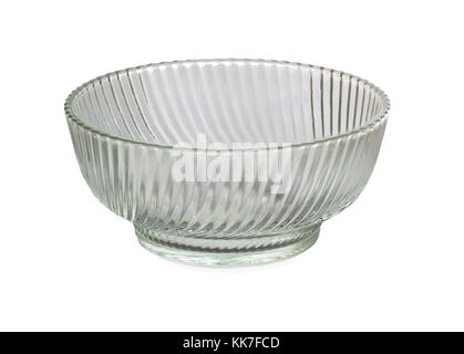 Transparent glass bowl with stripe pattern on white background - Stock Photo