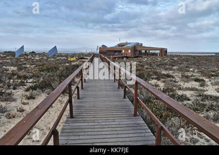Bar Restaurant in Ilha Deserta (Desert Island). Faro, Algarve, Portugal - Stock Photo