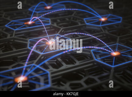 3D illustration. Conceptual image of a complex and abstract technological structure with connections and data transfer.
