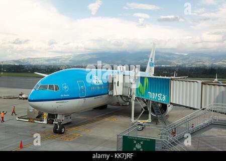 KLM plane at Mariscal Sucre International Airport, Quito, Ecuador, South America - Stock Photo