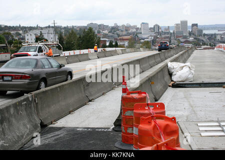 In August 2016, crews working for WSDOT opened the new Pacific Avenue overpass in Tacoma. The key route into and - Stock Photo