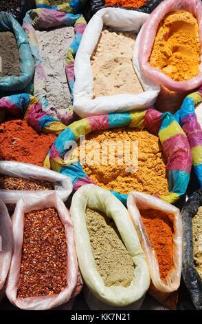 Spice Market, Ecuador - Spices for sale, Otavalo Market, Otavalo, Ecuador South America - Stock Photo