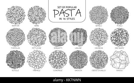 Set of isolated popular pasta in 16 styles. Cute hand drawn vector illustration of Italian food in black outline - Stock Photo
