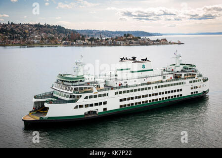 The M/V Chimacum sails near Alki Point and in Elliot Bay near Seattle, Washington on March 23, 2017.  The M/V Chimacum - Stock Photo