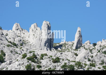 Rocks look like ghost silhuettes at Tulove Grede in Croatia - Stock Photo