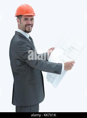 closeup. architect reading a blueprint .isolated on white - Stock Photo