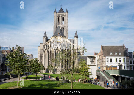 St. Nicholas church seen from St. Bavo Square and Emile Braun square - Stock Photo