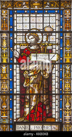 LONDON, GREAT BRITAIN - SEPTEMBER 20, 2017: The prophet Daniel on the stained glass in church St. Pancras from 19. - Stock Photo