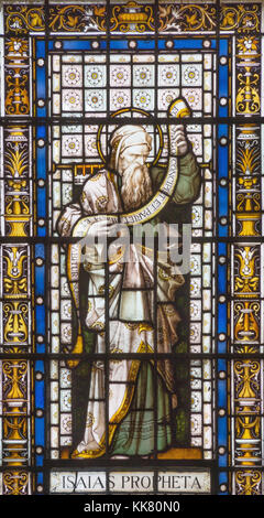 LONDON, GREAT BRITAIN - SEPTEMBER 20, 2017: The prophet Isaiah on the stained glass in church St. Pancras from 19. - Stock Photo
