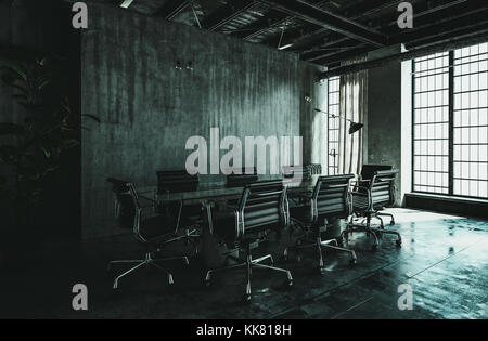 Dark modern industrial loft conversion interior with grungy streaked grey concrete wall, large floor to ceiling - Stock Photo