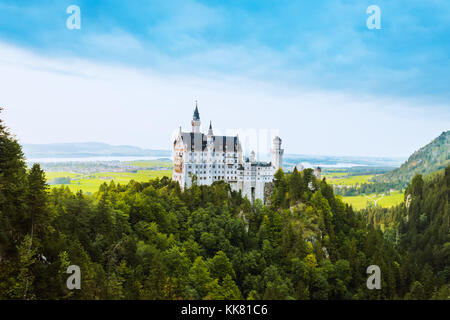 Beautiful aerial view of Neuschwanstein castle in summer season - Stock Photo