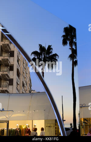 Reflections in Shopping Mall of Buildings & Palm Trees on the Boulevard de la Croisette, Cannes, Alpes-Maritimes, French Riviera, France