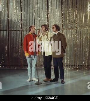 SCAFFOLD UK pop trio in December 1967. From left: Roger McGough, Mike McGear, John Gorman. Photo: Tony Gale - Stock Photo