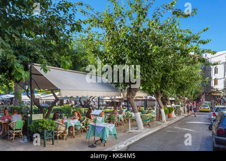 Cafes and tavernas on Platia Agoras in the Monastiraki district, Athens, Greece - Stock Photo