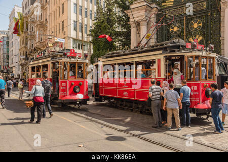 Tram cars used for public transportation in Istanbul, Turkey. - Stock Photo