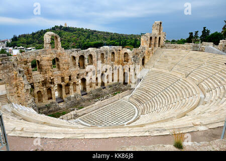 Open air amphitheater Odeon of Herodes Atticus (built  161AD, restored 1950), Acropolis of Athens. Used for performances - Stock Photo