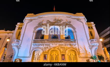 The Municipal Theater of Tunis at night. Tunisia, North Africa - Stock Photo