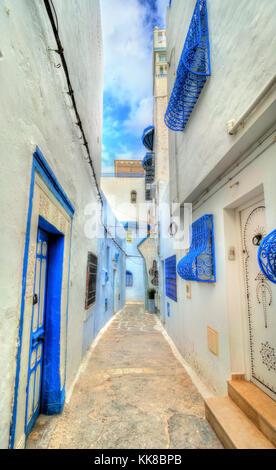 Traditional houses in Medina of Hammamet, Tunisia - Stock Photo