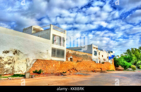 Traditional houses in Medina of Hammamet, Tunisia - Stock Photo