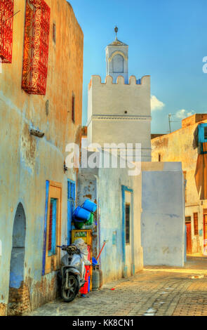 Traditional houses in Medina of Kairouan. A UNESCO world heritage site in Tunisia - Stock Photo
