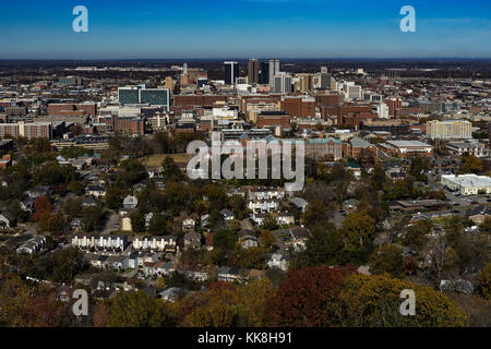 The Birmingham, Al. skyline as seen from the Vulcan Tower. - Stock Photo
