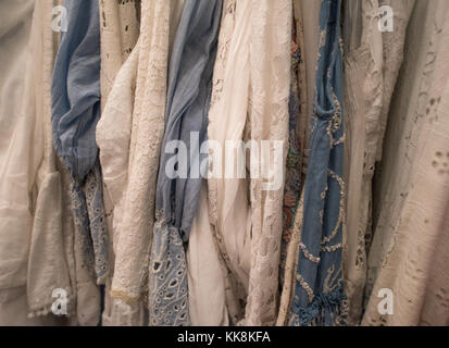 Beautiful selection of lacey Italian dresses - Stock Photo