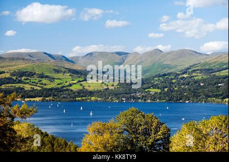 Lake District National Park, Cumbria, England. N.E over Windermere to the Wansfell and Ill Bell fells above Troutbeck - Stock Photo