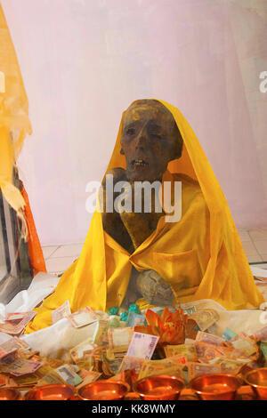 Lama Mummy 500 Year Old, at Gue, Kaza, near Kinnaur, Himachal Pradesh, Northern India. - Stock Photo