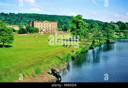 Chatsworth House near Bakewell in the Peak District National Park, Derbyshire, England. Home of the Dukes of Devonshire. - Stock Photo