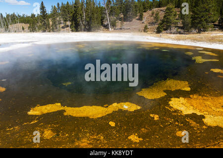Beauty Pool Thermal Feature in the Upper Geyser Basin, Yellowstone National Park - Stock Photo