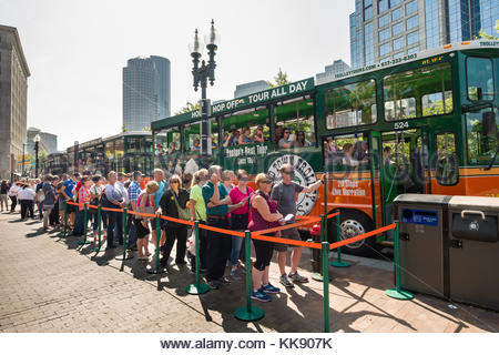 Massachusetts USA People Standing In Line For The Old Town Trolley Tours Boston Suffolk County