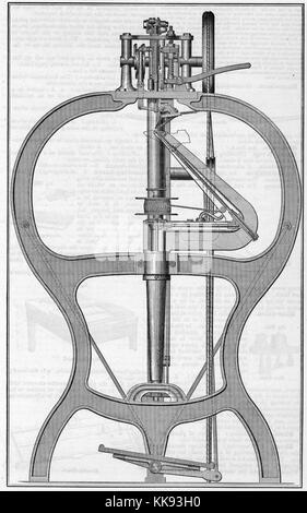 Engraved illustration of the McKay Shoe-sewing machine, invented by Lyman Reed Blake, who sold the patent to Gordon - Stock Photo