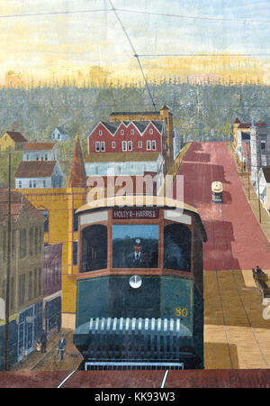 A part of the mural in downtown Bellingham, Washington showing an electric car going up and down the street and - Stock Photo