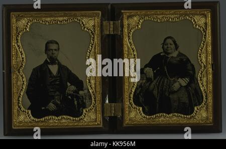 A double ambrotype portrait of Albro Lyons, Sr. and Mary Joseph Lyons, Albro owned and operated a home for black - Stock Photo
