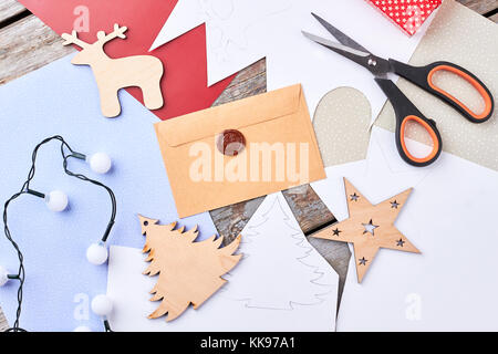 New Year handicraft background, top view. - Stock Photo