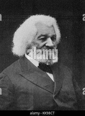 Black and white studio portrait of Frederick Douglass, an African-American social reformer, abolitionist, orator, - Stock Photo